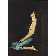 Jean-Jacques Henner (1829-1905), SOLITUDE (LA MAGDELEINE), Oil on canvas laid on canvas with an aluminum sheet placed at the back under the stretcher; signed upper right, 35.9