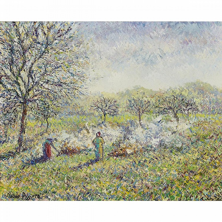 "Hughes Claude Pissarro (1935-), ""ÉTUDE POUR: LES BRÛLEUSES D'HERBE"", Oil on canvas; signed lower left, signed, titled and inscribed ""6 Fig."" and  ""013 / E2"" in black ink verso., 13"