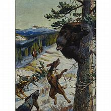 """Philip Russell Goodwin (1882-1935), """"BRUIN'S DILEMMA"""", CIRCA 1925, Oil on canvas; signed lower right, 30"""" x 22"""" — 76.2 x 55.9 cm."""