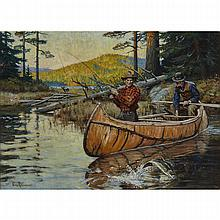 """Philip Russell Goodwin (1882-1935), THRILLING MOMENTS (ALSO CALLED """"LUCK FOR TWO""""), CIRCA 1930, Oil on canvas; signed lower left, titled """"Thrilling Moments"""" to the stretcher in pencil and inscribed """"Rolph Clark Stone Ltd"""" number"""