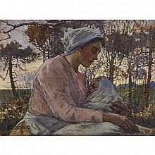 "Elizabeth Adela Stanhope Forbes (1859-1912), CONTENTMENT, Watercolour and bodycolour with black chalk on paperboard; signed lower left, titled to the nameplate, inscribed ""ST."" in black crayon verso, 17.9"