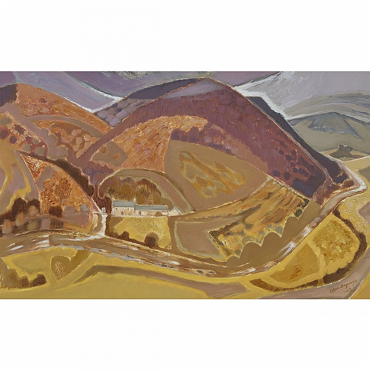 "Oliver Heywood (1920-1992), PYSGOT VALLEY, CARDIGAN, WALES, 1969; MOUNTAIN VALLEY, 1966, Two oils on masonite; the first, signed and dated 1969 lower right, signed and titled verso from the artist's address at ""Viner's Wood/ Wickstreet, Stroud/"