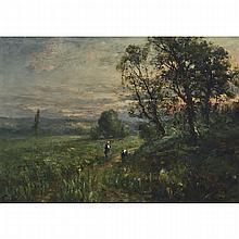 "Charles Wellington Boyle (1861-1925), LUSH LANDSCAPE WITH CHILDREN ON HILLSIDE AT SUNSET, Oil on panel; signed ""C. Boyle"" lower left, 9.5"" x 13.75"" — 24.1 x 34.9 cm."