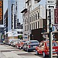 ARTHUR HORSFALL, RCASMITH STREET, acrylic on canvas; signed, dated '85; unframed 30 ins x 30 ins; 76.2 cms x 76.2 cms Note: Born in Winnipeg, Manitoba, in 1915 Arthur Horsfall studied art at the Winnipeg School of Art, under L.L. Fitzgerald and Joe