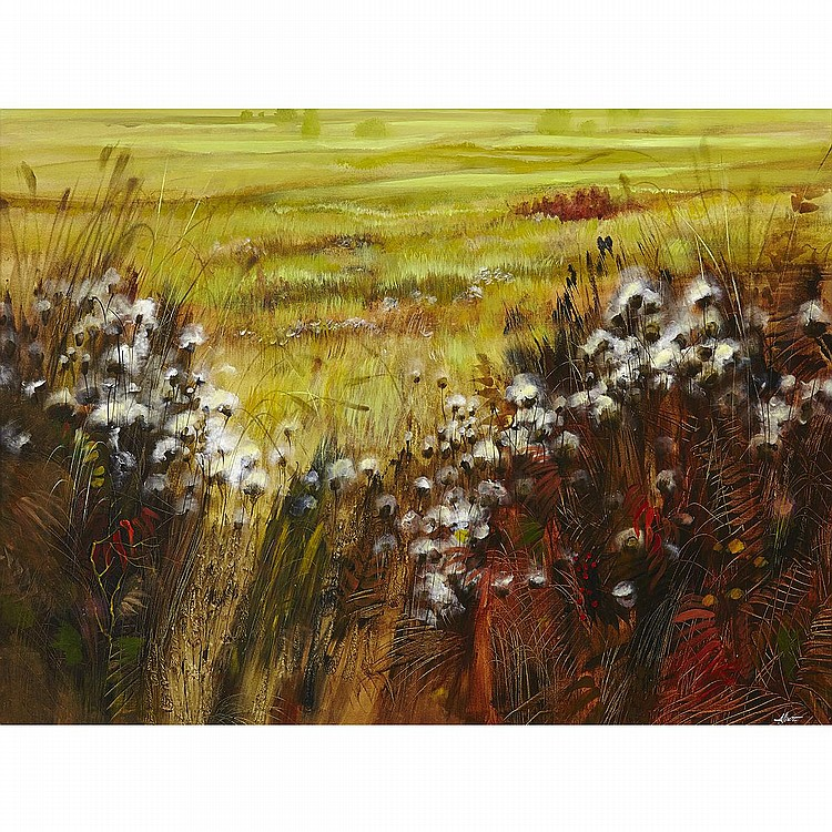 WILLIAM ALLISTERTHISTLES, acrylic on canvas; signed 35.5 ins x 47.5 ins; 90.2 cms x 120.7 cms Note: William Allister was born in Benito, Manitoba in 1919 to Ukrainian Jewish immigrants, and grew up in Montreal. He worked as a commercial artist in