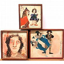 """CATHY SENITT-HARBISON (CANADIAN, 1945-), UNTITLED (2); VVSS IN BL, THREE SMALL OILS ON CANVAS; EACH SIGNED AND DATED 67/68, 67 1202, 69/70; ONE TITLED TO GALLERY LABEL; EACH (5.5"""" x 5"""") (6.8"""" x 6.1"""") (7.3"""" x 8.4""""), 5"""" x 5.5"""" — 12.7 x 14 cm."""