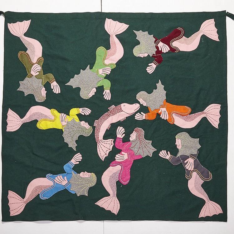 NORMAN EKOOMIAK (1948-), SEDNAS WITH SEA CREATURE, stroud, thread, embroidery floss, 52.5