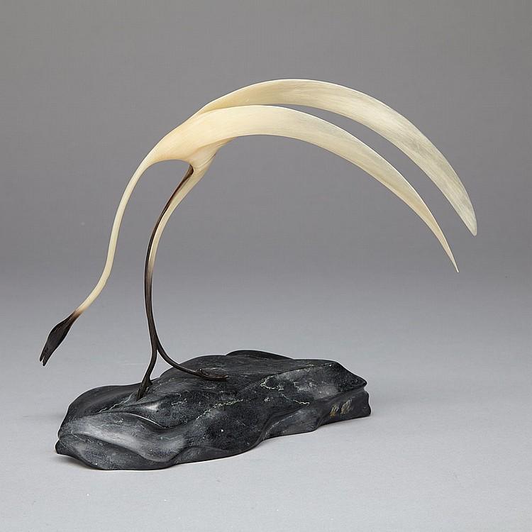 REX GOOSE (1965-), SANDHILL CRANE, horn, stone, 6.75