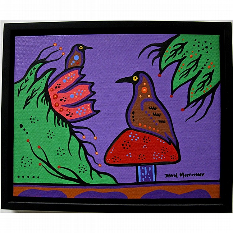 DAVID MORRISSEAU (NATIVE CANADIAN, 1961-), BIRD FAMILY, ACRYLIC ON CANVAS; SIGNED LOWER RIGHT; SIGNED, TITLED AND DATED 2009 VERSO, 8