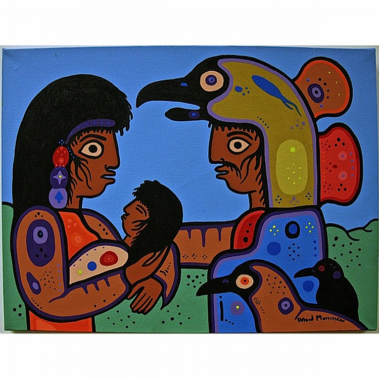 DAVID MORRISSEAU (NATIVE CANADIAN, 1961-), GRAND SHAMAN AND FAMILY (TRIBUTE TO MY FATHER GRAND SHAMAN NORVAL MORRISSEAU), ACRYLIC ON CANVAS; SIGNED LOWER RIGHT; SIGNED, TITLED AND DATED JAN 2010 VERSO - UNFRAMED, 12