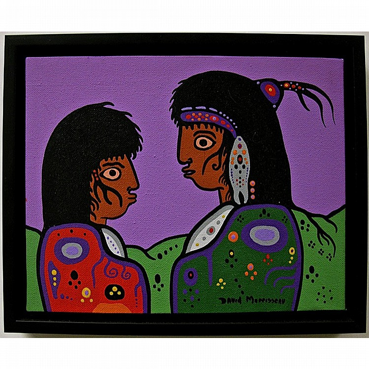 DAVID MORRISSEAU (NATIVE CANADIAN, 1961-), MOTHER SPEAKING TO SON, ACRYLIC ON CANVAS; SIGNED LOWER RIGHT; SIGNED, TITLED AND DATED 2009 VERSO, 8