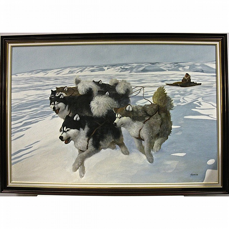 KENNETH KIRKBY (CANADIAN, 1940-) & DAVID JEAN (CANADIAN, 1938-), UNTITLED (DOG TEAM), OIL ON CANVAS; SIGNED BY BOTH ARTIST LOWER RIGHT, 40