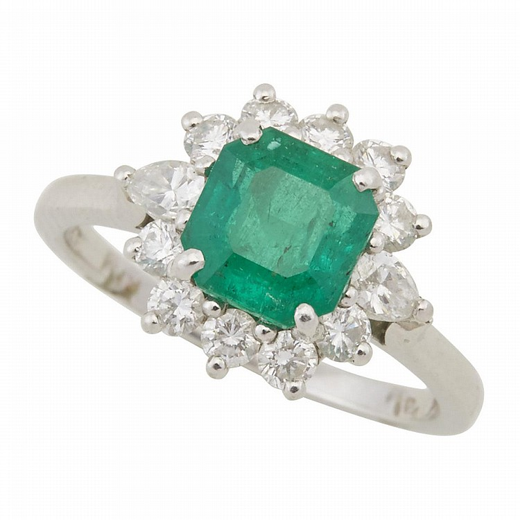 birks platinum ring set with an emerald cut emerald approx