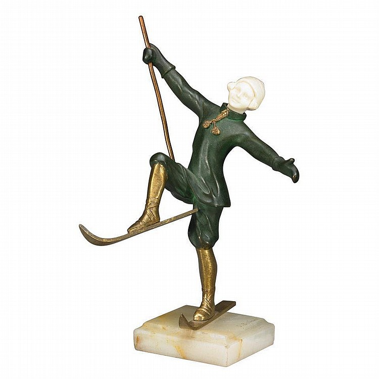 French Art Deco Patinated and Gilt Bronze and Ivorine Figure of a Young Girl Skiing, Solange Bertrand (French, fl.1920)
