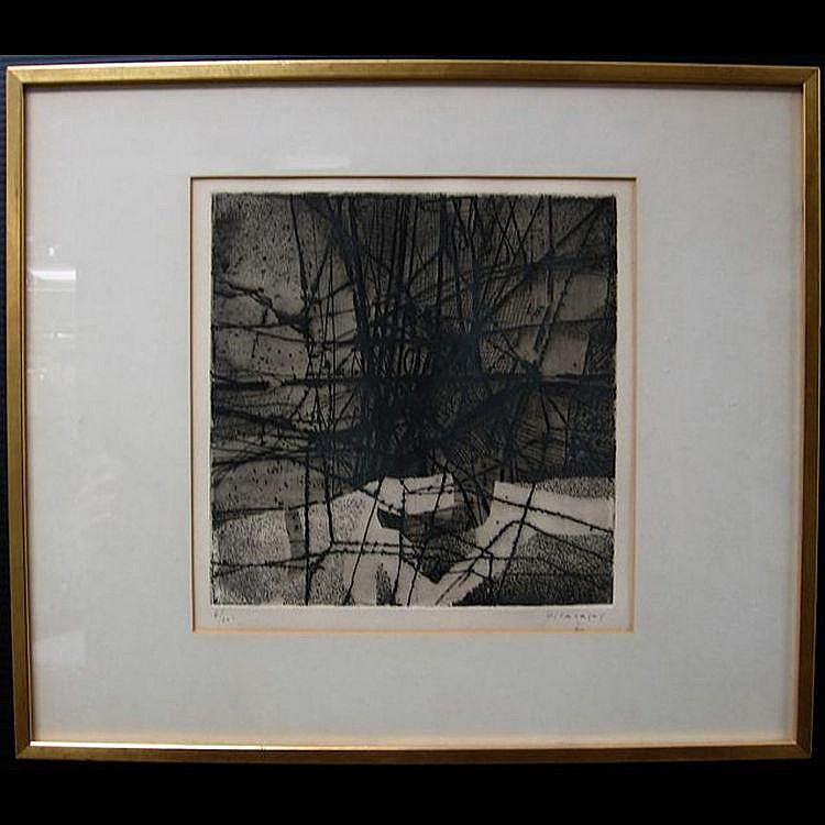 JUAN VILACASAS (SPANISH, 1920-) ABSTRACT; ETCHING;