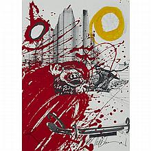 Ralph Idris Steadman (1936-), (FROM FEAR AND LOATHING IN LAS VEGAS: A SAVAGE JOURNEY TO THE HEART OF THE AMERICAN DREAM), 1971/2), Colour print on blindstamped paper heightened with silver, yellow and white watercolour and gouache; signed in pencil