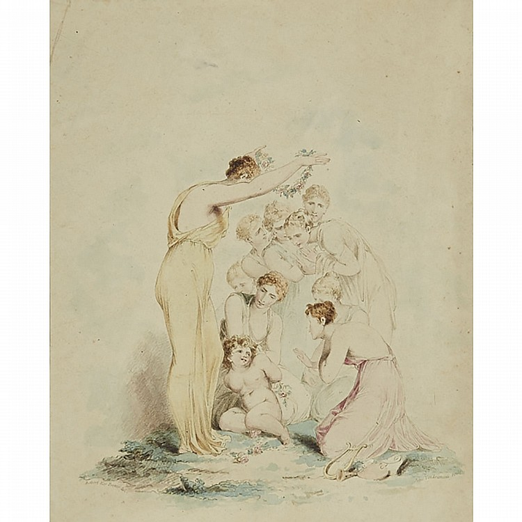 After Sir Robert Ker Porter  (1777-1842), PSYCHE CROWNING CUPID, Handcoloured lithograph on wove paper; engraved by John Vendramini (1769-1839). Unframed., Sheet 9.3