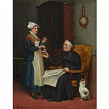"""Ludovic (Louis Hippolyte) Mouchot (1846-1893), CLERGYMAN READING THE GIL BLAS AND REACHING FOR A PINCH FROM HIS SNUFF BOX, Oil on panel; signed lower left, 15.5"""" x 12.25"""" — 39.4 x 31.1 cm."""