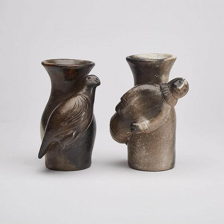 ROGER AKSADJUAK (1972-), TWO VASES, ceramic, 5.5 x 3.5 x 3.5 in — 14 x 8.9 x 8.9 cm