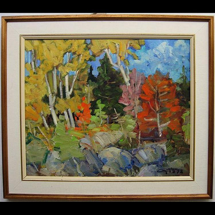 LEO AYOTTE (CANADIAN, 1909-1996) AUTOMNE; OIL ON