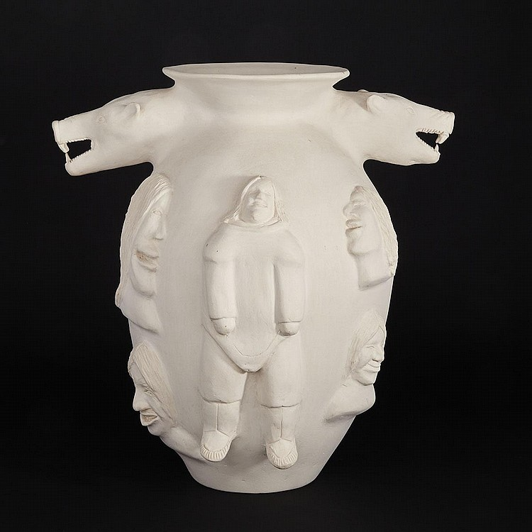 LAURENT AKSADJUAK (1935-2002), LARGE VASE WITH POLAR BEAR HEAD HANDLES AND DECORATED WITH FIGURES AND FACES IN RELIEF, ceramic, 19