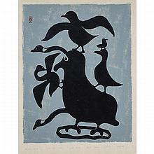 "KELLYPALIK MANGITAK (1940-), THOUGHTS OF BIRDS, stonecut (unframed), 24"" x 17.75"" — 61 x 45.1 cm."