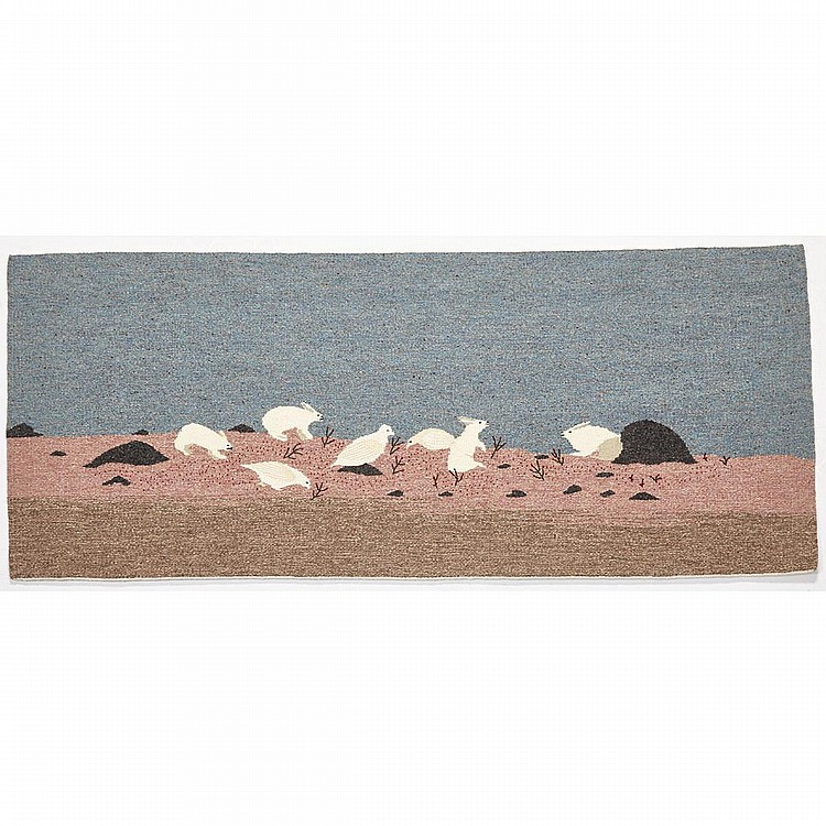 ATUNGAUYAK EESEEMAILEE (1923-1989), SPRINGTIME PTARMIGAN AND RABBITS FEEDING, wool weaving, 22