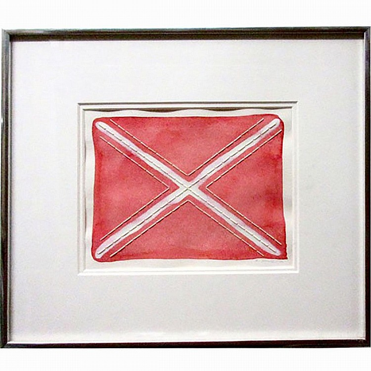 "ROBERT JAMES HOULE (NATIVE CANADIAN, 1947-), UNTITLED (FLAG), MIXED MEDIA (Watercolour & quill); SIGNED AND DATED '83 LOWER RIGHT (Image, 6"" x 8"")"