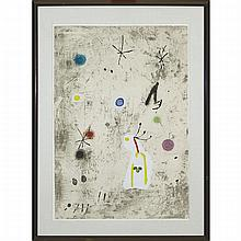 "Joan Miro (1893-1983), PERSONATGE I ESTELS III, 1979 [DUPIN, 1090], Colour etching and aquatint with collage on thick Arches paper printed to the edges; signed and numbered 49/50 in pencil to bottom edge, titled ""Personatge I estels 56"" in pencil"