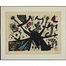 Joan Miro (1893-1983), PLATE NO. 3 (FROM HOMENATGE A JOAN PRATS), 1971 [MOURLOT, 709; POLIGRAFA CAT. NO. 3], Colour lithograph on Guarro paper; signed and numbered 12/75 in pencil. Published by La Poligrafa S.A., Barcelona., Image 21.5