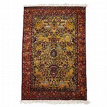 Anatolian Silk Garden Design Rug, late 20th century, 4'10