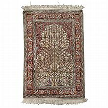 Mercerized Cotton Bird's of Paradise Rug, Turkish, middle 20th century, 5'10