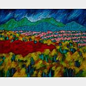 LUPE RODRIGUEZ, CAMINO ZUNI, acrylic on canvas, unframed, 48 ins x 60 ins; 152.4 cms x 213.4 cms