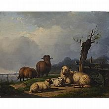 """Pieter Plas (1810-1853), SHEEPING RESTING BY A RIVER BANK, Oil on panel; signed """"P Plas"""" to the fence post mid right. Unframed., 9.75"""" x 12"""" — 24.8 x 30.5 cm."""