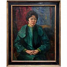 JOHN MARTIN ALFSEN (CANADIAN, 1902-1971), PORTRAIT OF A SEATED WOMAN IN TEAL, OIL ON CANVAS; SIGNED LOWER RIGHT; SIGNED VERSO, 38 x 30 in — 96.5 x 76.2 cm