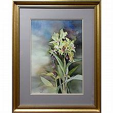 """DAVID MADDERN (AMERICAN, 1933-) & JOY RAINE (CANADIAN, 20TH CENTURY), """"CATTLEYA"""" & """"APPLE BLOSSOMS"""", TWO WATERCOLOURS; FORMER - SIGNED AND TITLED LOWER LEFT (Sight, 19"""" x 13.3""""); LATTER - SIGNED LOWER LEFT, TITLED VERSO (Sight, 10"""" x 14"""")"""