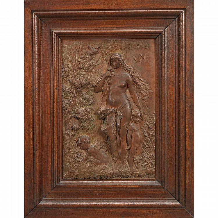 Otto petri german relief carved walnut plaque o