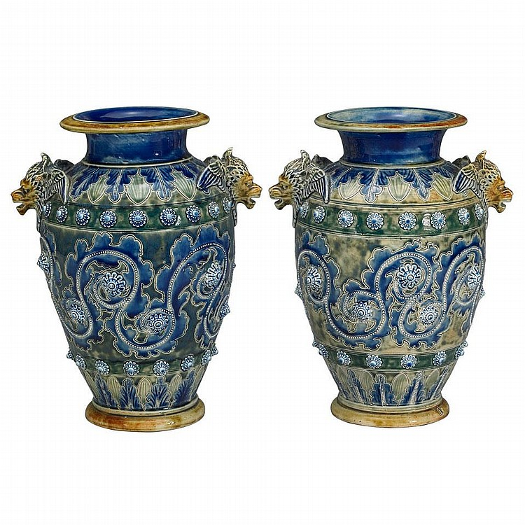 Pair of Doulton Lambeth Stoneware Vases, George Tinworth, 1875, height 10.6