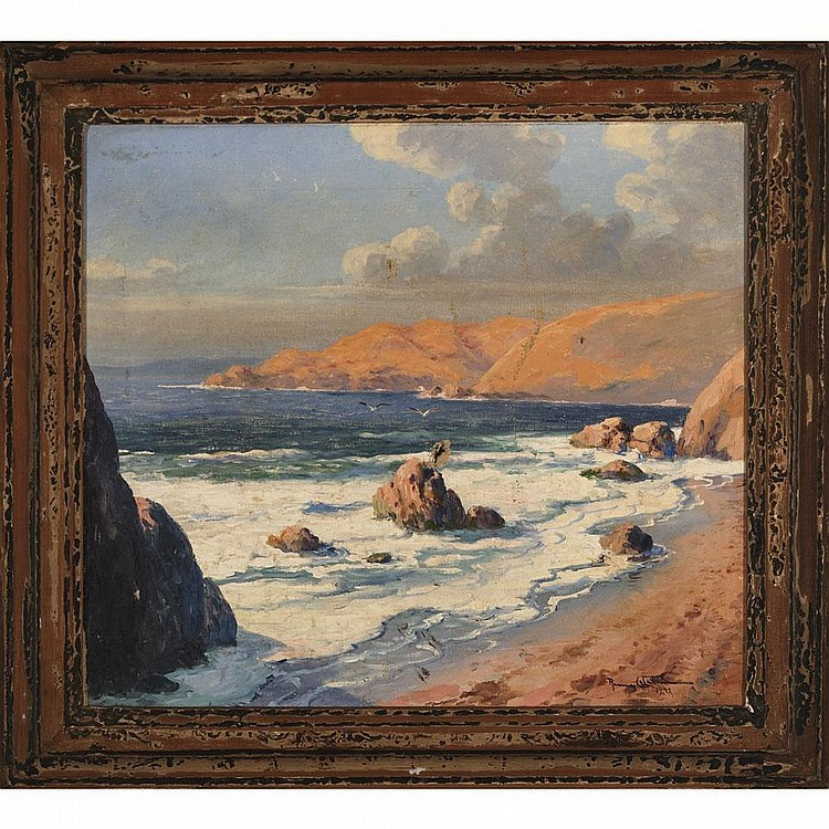 Ramos Catalan (1890- ), Chilean SEASCAPE; Oil on