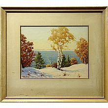"""WILLIAM GARDNER BLACKWOOD (CANADIAN, 1890-?) AND WRAY EARL SHARPE (CANADIAN, 1890-1986) (TWO WORKS), """"LAKE SCENE - WINTER"""" AND """"HAULING LOGS - WINTER"""", FORMER - WATERCOLOUR; SIGNED LOWER LEFT (Sight, 10.5"""" x 13.5"""") Note: water stains on"""