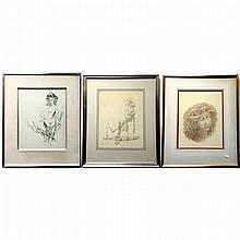 """GARY PETER SLIPPER (CANADIAN, 1934-), """"NUDE STUDIES"""" AND """"GIRL WITH HAT"""", (THREE WORKS) FIRST - INK, SIGNED AND DATED /74 LOWER RIGHT (Sight, 13.8"""" x 10.8"""") SECOND - PENCIL, SIGNED AND DATED /75 LOWER LEFT (Sight, 13.5"""" x 10.8"""") THIRD"""