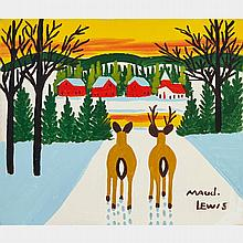 MAUD LEWIS, DEER, oil on board, 11.75 ins x 13.75 ins; 34.9 cms x 29.8 cms