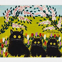 MAUD LEWIS, THREE CATS, oil on board, 12 ins x 14.25 ins; 36.2 cms x 30.5 cms