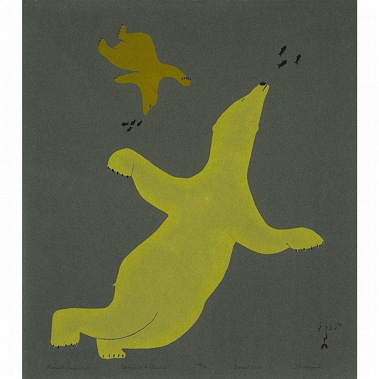 CEE POOTOOGOOK (1967-), NANUIT PUIJURTUT (BEARS SWIMMING), stonecut and stencil (unframed), 20