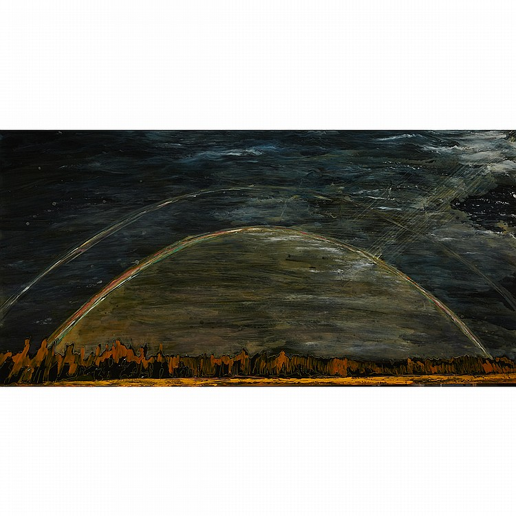 STEVE DRISCOLL, FROM THE HEAVENS, urethane and pigment on board, 30 ins x 60 ins; 76.2 cms x 152.4 cms