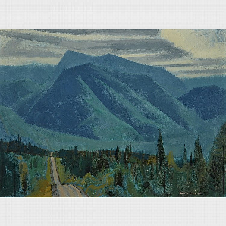 ALAN CASWELL COLLIER, O.S.A., R.C.A., THE KANANASKIS ROAD, ALBERTA, ABOUT MILE 83, oil on board, 12 ins x 16 ins; 30.5 cms x 40.6 cms