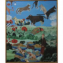"""CATHY SENITT-HARBISON (CANADIAN, 1945-), UNTITLED (""""FLYING MAN & ANIMALS"""" & """"FLYING WOMAN & DOG""""), TWO OILS ON CANVAS; FORMER - SIGNED AND DATED 25 2 78 LOWER RIGHT (29"""" x 22"""") LATTER - SIGNED AND DATED 10 05 78 LOWER LEFT (22"""" x 27.5"""")"""
