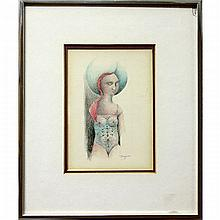 """GARY PETER SLIPPER (CANADIAN, 1934-), """"THE BATHER"""", """"THE NUDE"""", """"LADY AND FLOWERS"""", THREE COLOUR PENCIL DRAWINGS; FIRST - SIGNED LOWER RIGHT (Image, 5"""" x 2.3"""") SECOND - SIGNED AND DATED '82 LOWER RIGHT (Image, 6"""" x 4.3"""") THIRD -"""