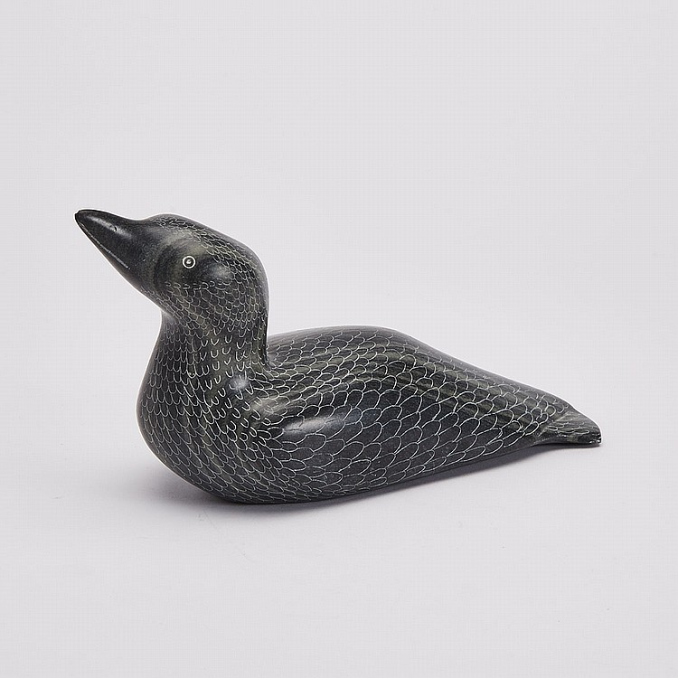 MINA MANNUK (1934-), SEATED LOON, stone, 5 x 9 x 3.25 in — 12.7 x 22.9 x 8.3 cm
