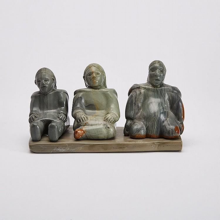 ELISAPEE KANANGNAQ AHLOOLOO (1918-), SEATED FIGURES, stone, bone, 4 x 7 x 4 in — 10.2 x 17.8 x 10.2 cm